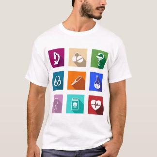 Camiseta T-shirt médico dos homens dos ícones