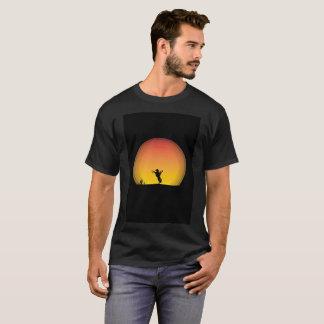 Camiseta T-shirt moderno da arte do passeio do por do sol