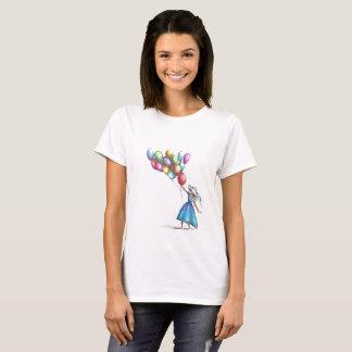 Camiseta T-shirt mulher branca com desenho colorido