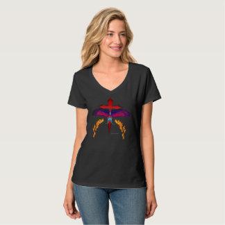 Camiseta T-shirt Nano de desaparecimento do V-Pescoço das