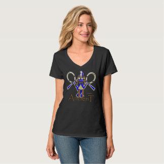 Camiseta T-shirt Nano do V-Pescoço das senhoras antigas de