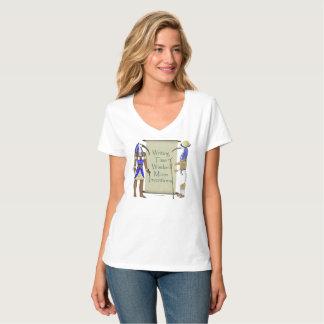 Camiseta T-shirt Nano do V-Pescoço das senhoras da lista de