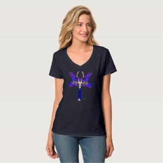 Camiseta T-shirt Nano do V-Pescoço das senhoras de Ankh