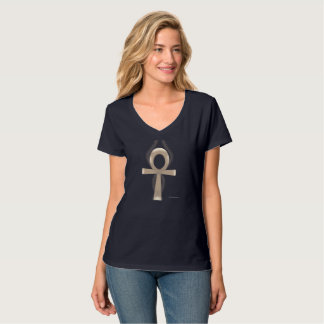 Camiseta T-shirt Nano do V-Pescoço das senhoras de Ankh da