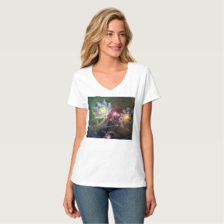 Camiseta T-shirt Nano do V-Pescoço do Hanes das mulheres
