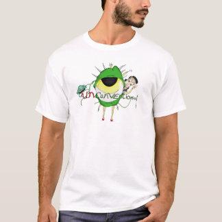 """Camiseta T-shirt """"não convencional"""" do branco do logotipo"""