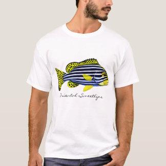Camiseta T-shirt oriental dos peixes do recife de Sweetlips