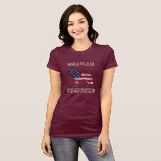 Camiseta T-shirt patriótico do cão de german shepherd do