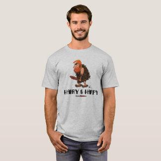 Camiseta T-shirt (peludo & feliz) do Neanderthal de Tronk