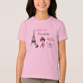 Camiseta T-shirt personalizado de Paris da menina e do gato