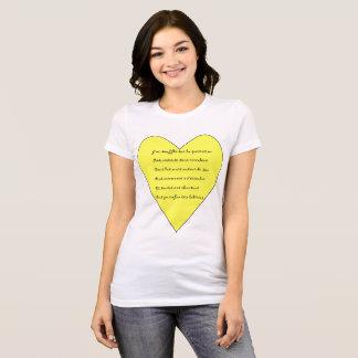 Camiseta T-shirt poema musical e coração e mandala
