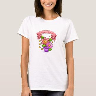 Camiseta T-shirt positivo encantado da flor do Doodle do