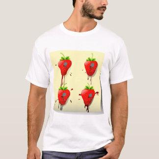 Camiseta T-shirt pregado dos homens das morangos