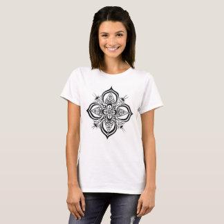 Camiseta T-shirt preto 2 do design da mandala do Henna