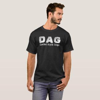 Camiseta T-shirt preto cripto dirigido do gráfico acíclico
