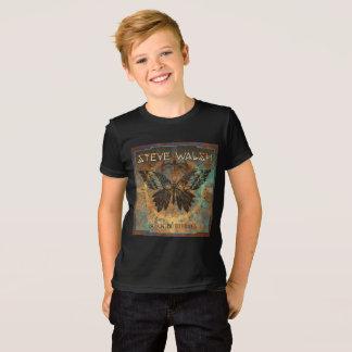Camiseta T-shirt preto da borboleta dos miúdos