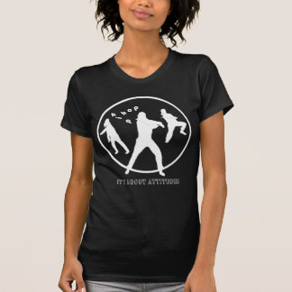 Camiseta T-shirt preto das senhoras das meninas da dança de