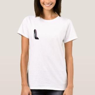 Camiseta T-shirt preto das senhoras dos calçados do