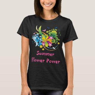 Camiseta T-shirt preto de flower power do verão