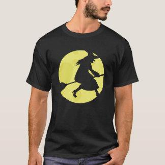 Camiseta T-shirt preto de Haloween da bruxa do vôo
