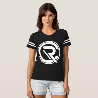 Camiseta T-shirt preto do futebol das mulheres do centro de