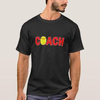 Camiseta T-shirt preto do treinador do softball dos homens