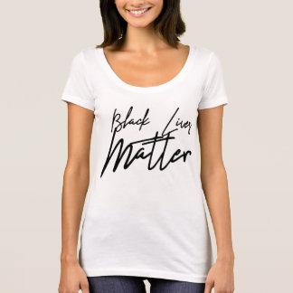 Camiseta T-shirt preto escrito à mão da matéria das vidas