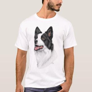 Camiseta T-shirt principal preto e branco de border collie