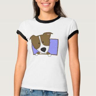 Camiseta T-shirt quadro das senhoras de Brown border collie