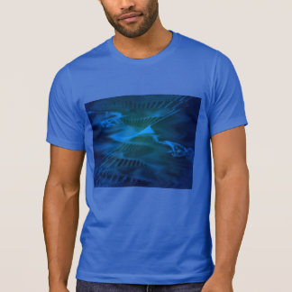 Camiseta T-shirt real com Seascapes abstratos azuis de