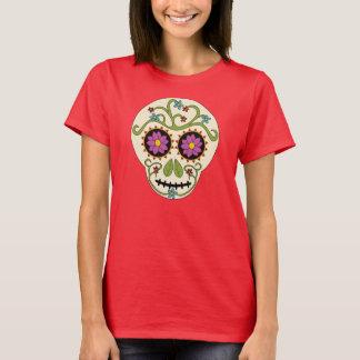 Camiseta T-shirt redondo do crânio do açúcar