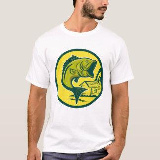 Camiseta T-shirt retro do baixo Largemouth do pescador dos