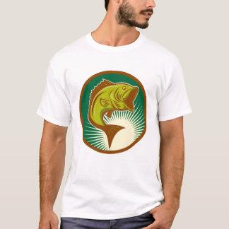 Camiseta T-shirt retro do baixo Largemouth dos homens