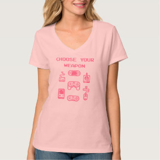 Camiseta T-shirt retro do jogo: Escolha seu rosa da arma