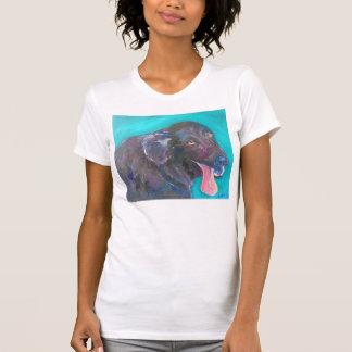 Camiseta T-shirt revestidos lisos pretos da arte do cão do