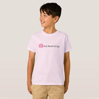 Camiseta T-shirt rosa pálido dos miúdos com coração do
