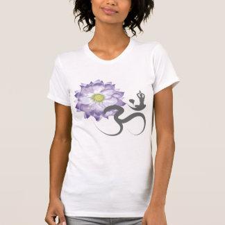 Camiseta T-shirt roxo da caligrafia do OM da ioga da flor