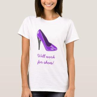 Camiseta T-shirt roxo dos calçados do salto alto