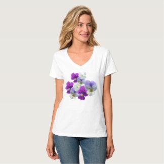 Camiseta T-shirt roxo e branco do V-pescoço dos Pansies