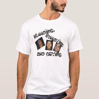 Camiseta T-shirt sangrando, da transpiração e do grito do