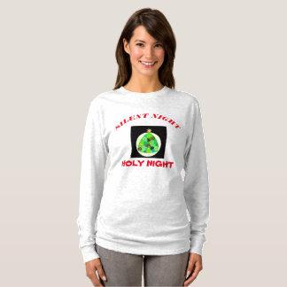 Camiseta T-shirt santamente da longo-luva da noite da noite