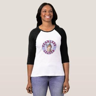 Camiseta T-shirt sem medo da luva do líder 3/4 das mulheres