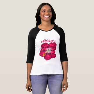 Camiseta T-shirt Sleeved longo do hibiscus das mulheres