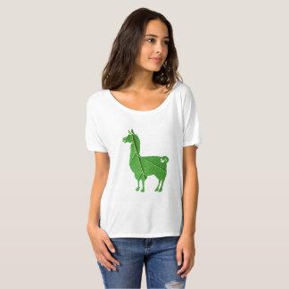 Camiseta T-shirt Slouchy das senhoras do lama da folha