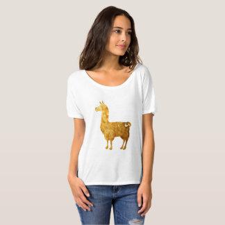 Camiseta T-shirt Slouchy das senhoras do lama do ouro