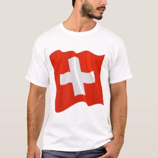 Camiseta T-shirt suíço dos homens da bandeira