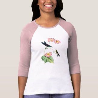 Camiseta T-shirt suportado roxo das senhoras do colibri de