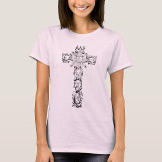 Camiseta T-shirt transversal floral das senhoras