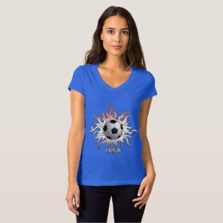 Camiseta T-shirt tribal do jérsei do V-Pescoço das senhoras