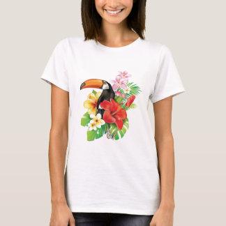 Camiseta T-shirt tropical do branco da colagem de Toucan